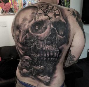Skull & Grim Reaper Back Tattoo