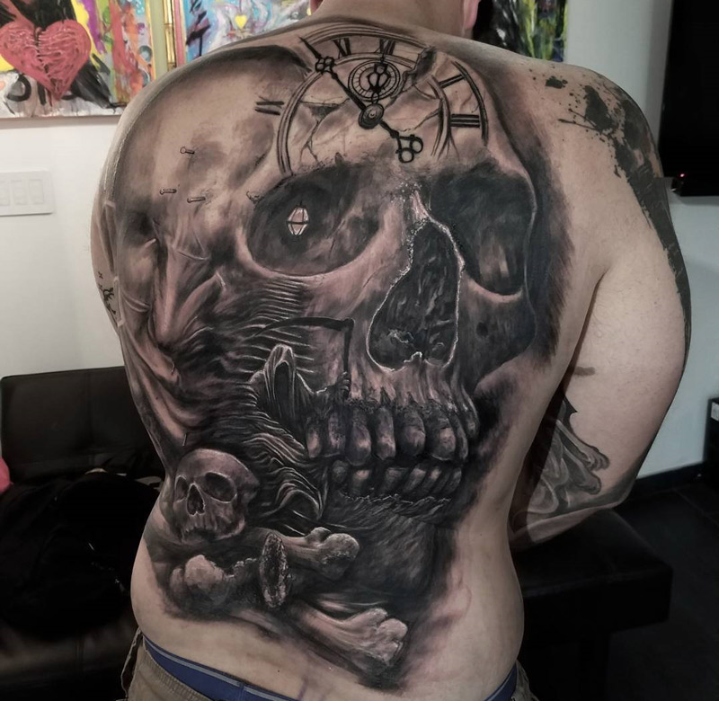 Skull & Grim Reaper Back Tattoo