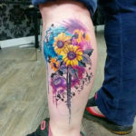 Sunflowers Calf Tattoo