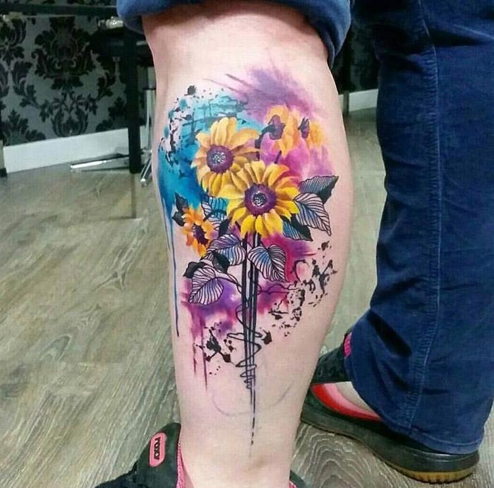 Sunflowers Botanical Calf Tattoo