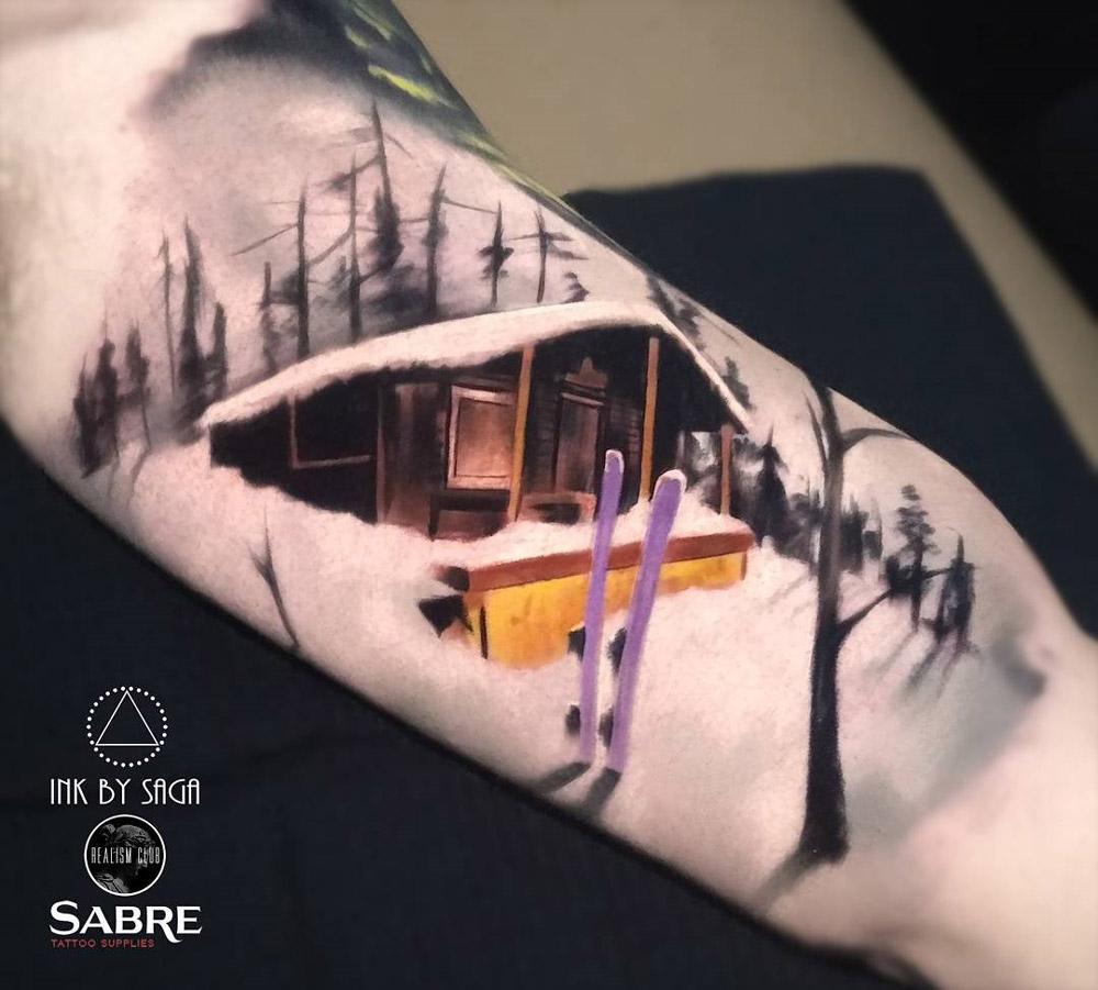 Ski Cabin On Red Mountain Best Tattoo Design Ideas