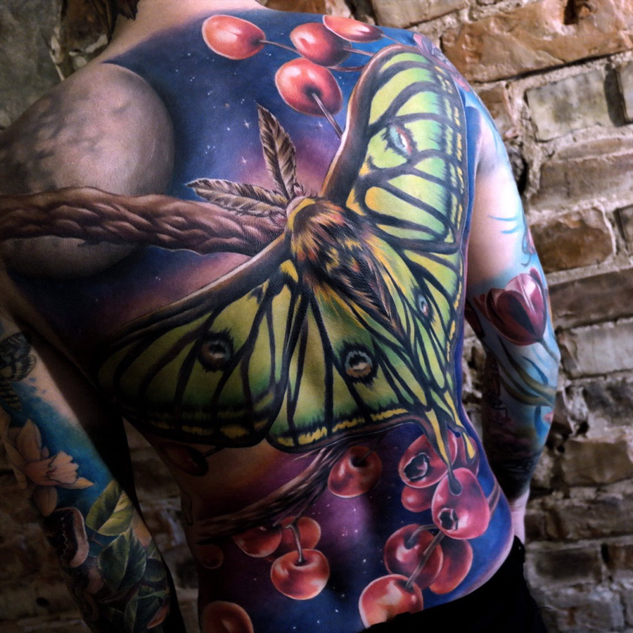 spanish moon moth mens back tattoo best tattoo design ideas. Black Bedroom Furniture Sets. Home Design Ideas
