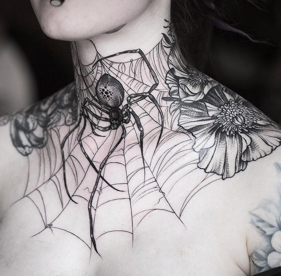 Spider & Web Neck Tattoo