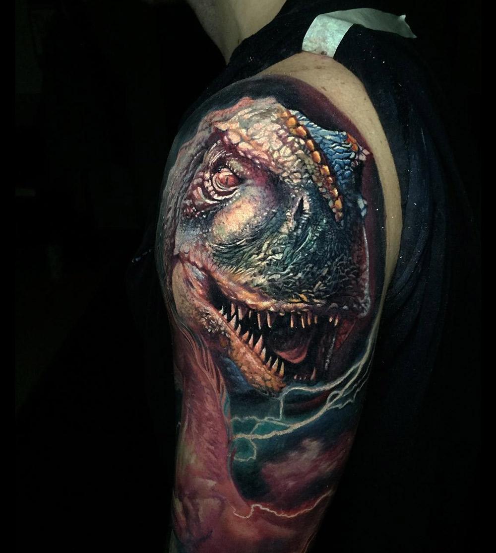 d256a60b6 Realistic T-Rex Tattoo on Guy's Shoulder | Best tattoo design ideas
