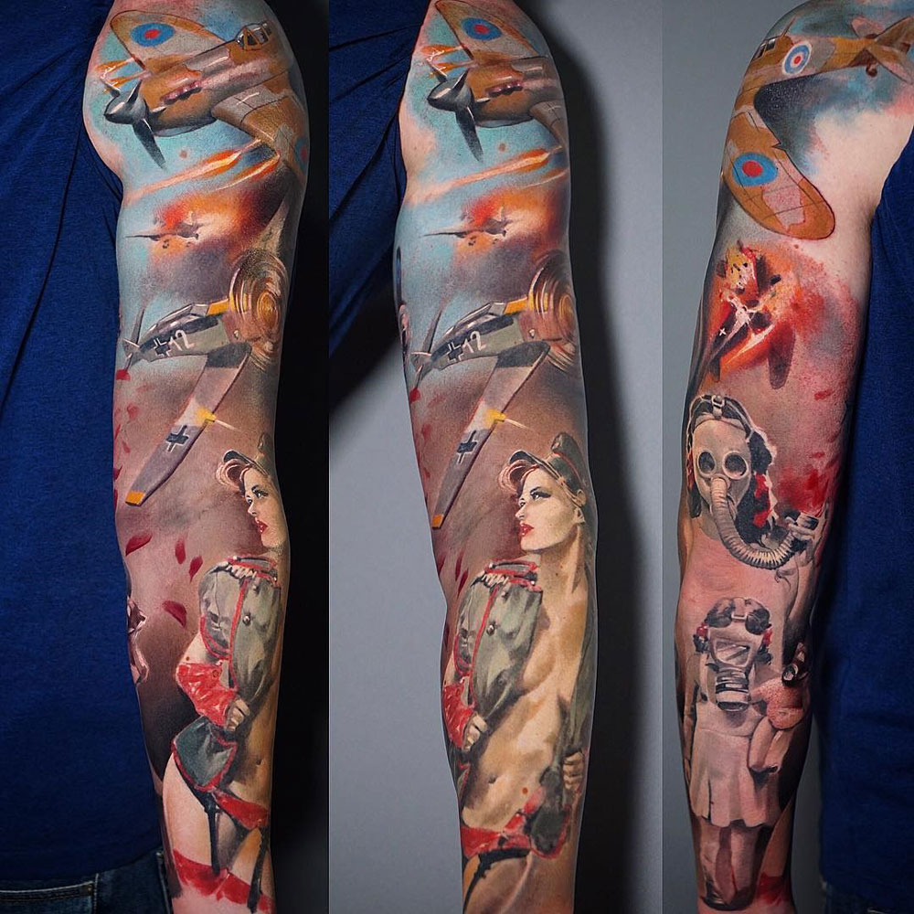 WW2 Sleeve with dog fight