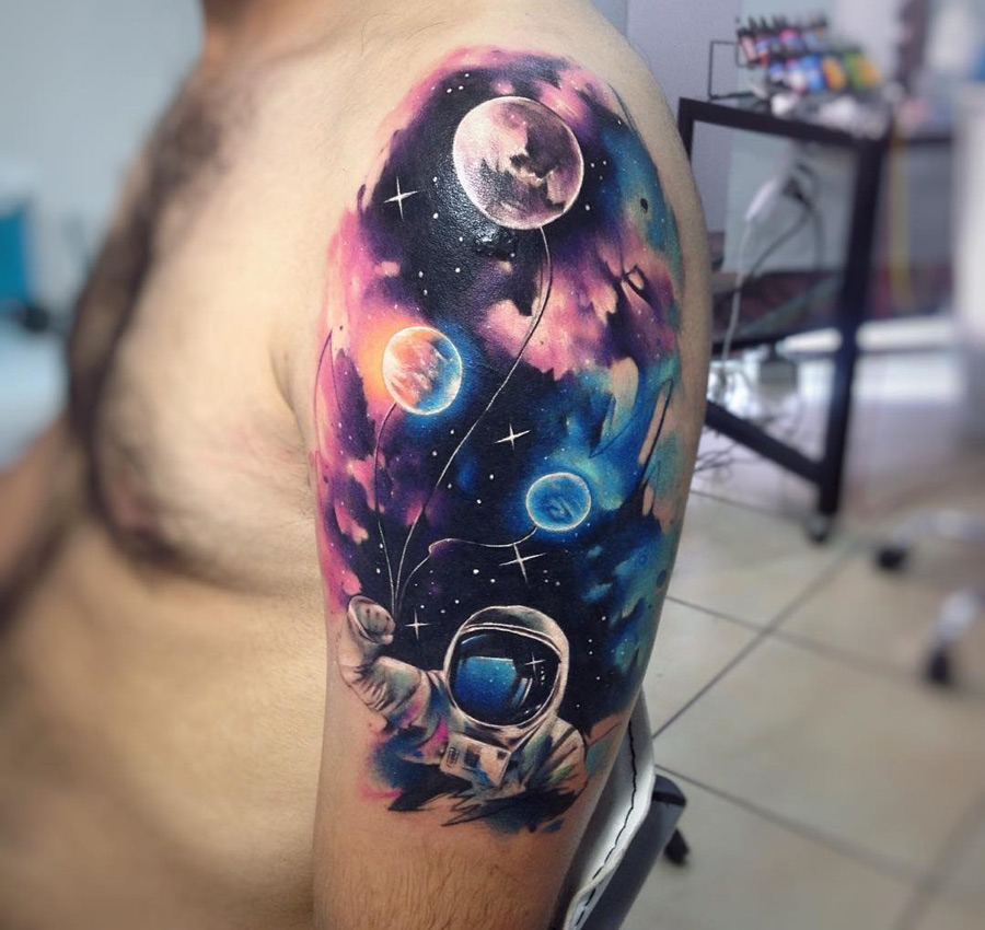 astronaut holding planet balloons best tattoo design ideas. Black Bedroom Furniture Sets. Home Design Ideas