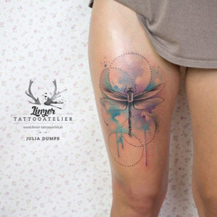 Dragonfly Thigh Tattoo