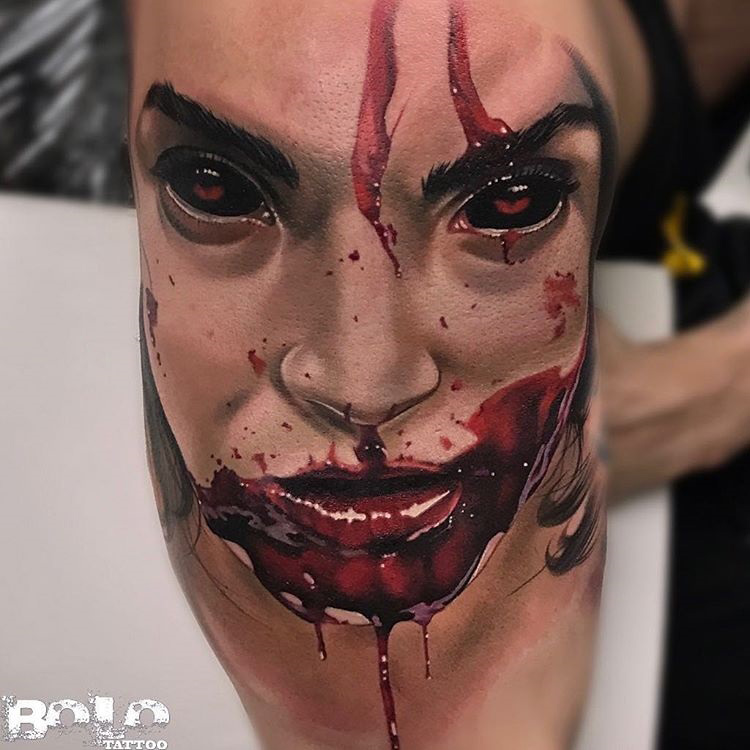 gory face with blood around the mouth best tattoo design ideas. Black Bedroom Furniture Sets. Home Design Ideas