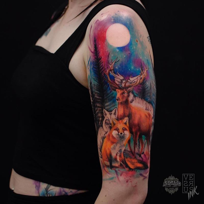 Deer & Fox Watercolor Sleeve
