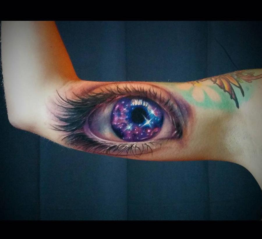 Galaxy eye realistic arm piece best tattoo design ideas for Eye tattoos designs
