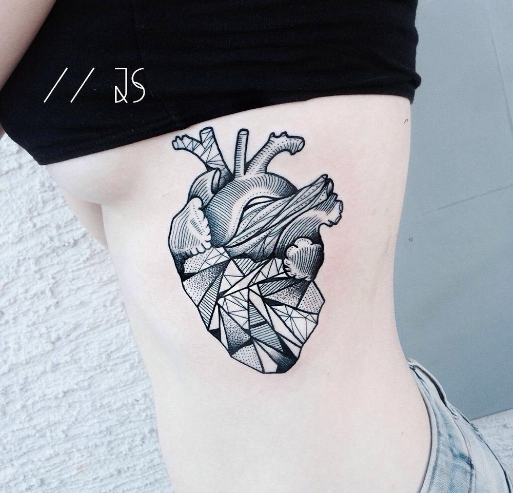 Geometric Heart Girls Side Tattoo