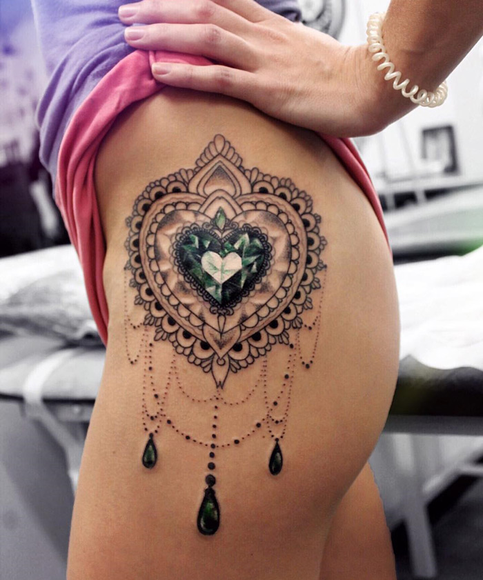 Heart Diamond Ornamental Hip Tattoo