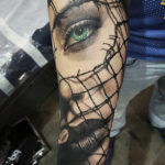 Green Eyed Girl Portrait Tattoo