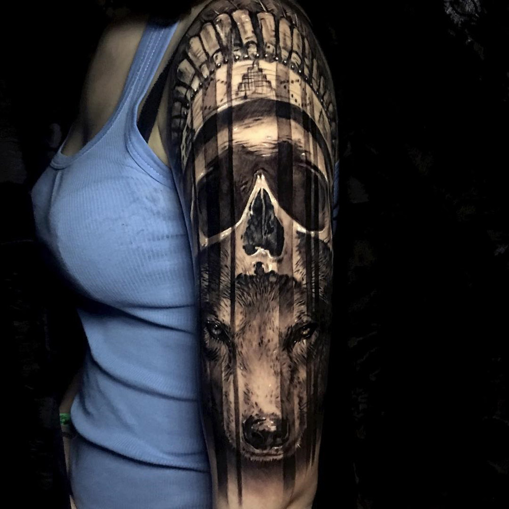 Skull wearing Headdress & Wolf