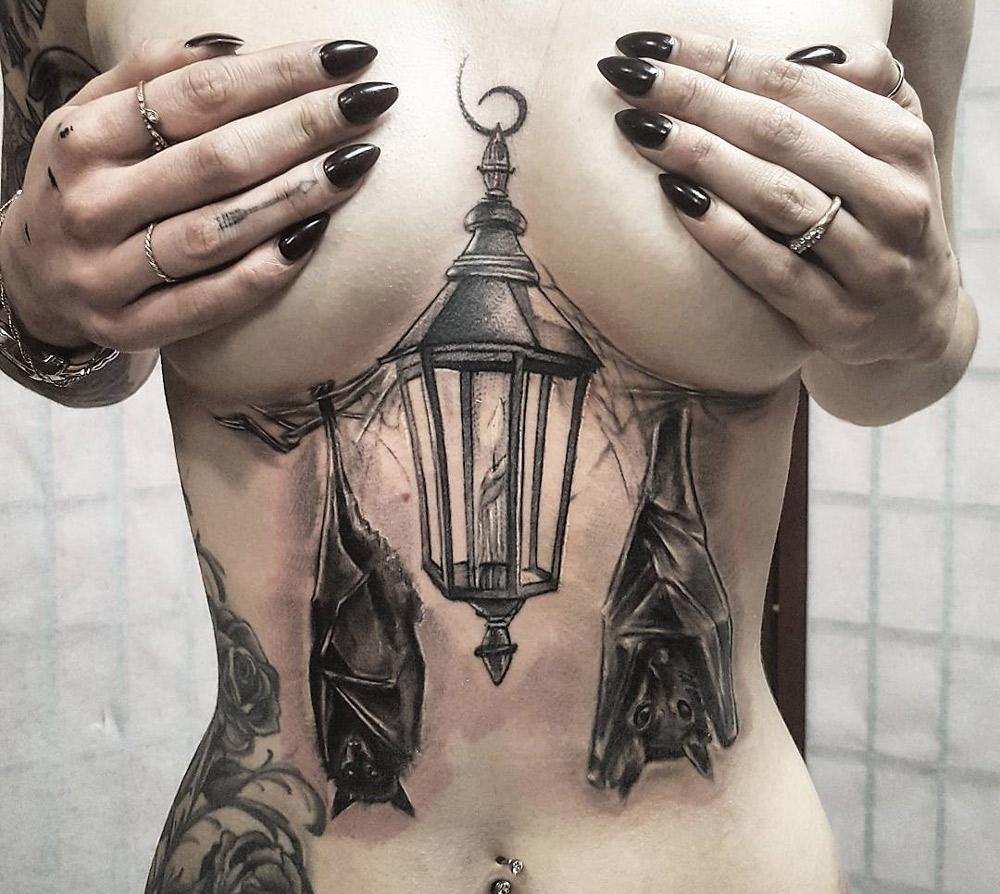 Lantern & Bats Underboob Tattoo