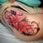 Sexy Lilies Hip Tattoo