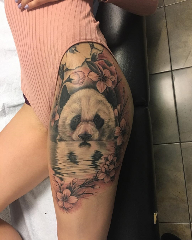 Panda & Hibiscus Thigh Tattoo