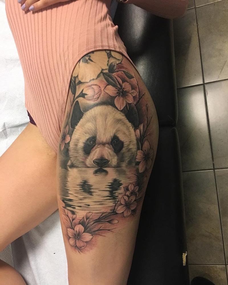 Panda & Plum Blossom on Girls Hip | Best tattoo design ideas