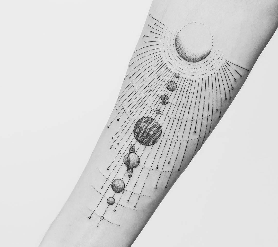Planets Forearm Tattoo
