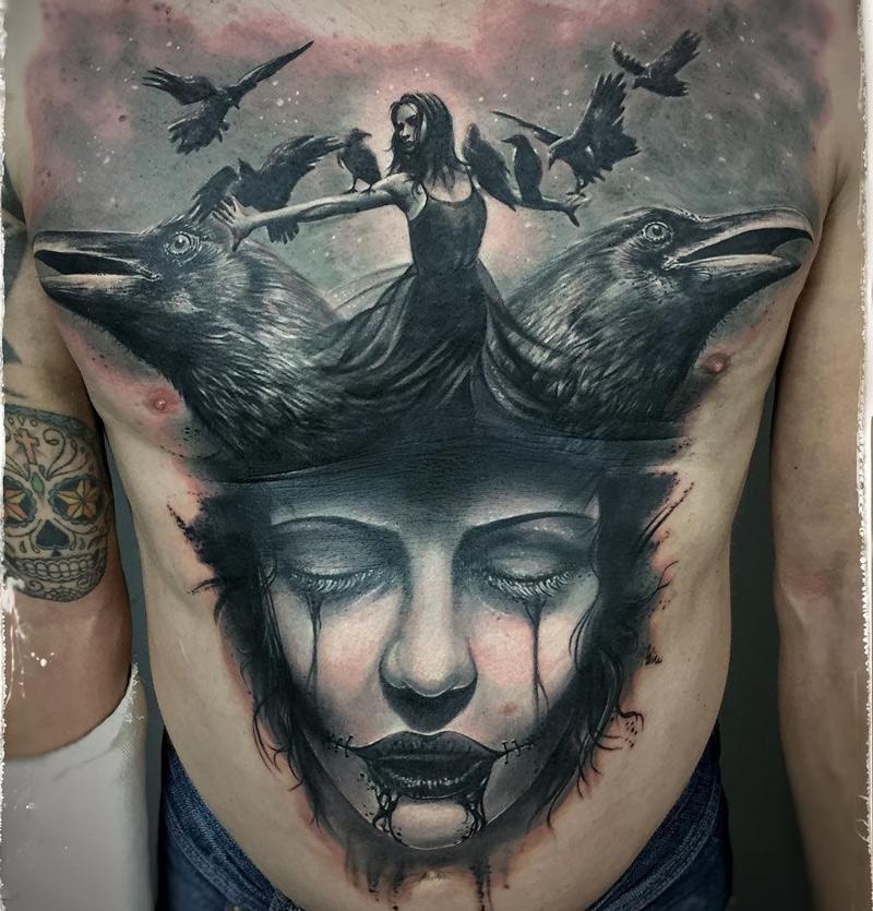 Ravens portrait best tattoo design ideas for Ravens face tattoos