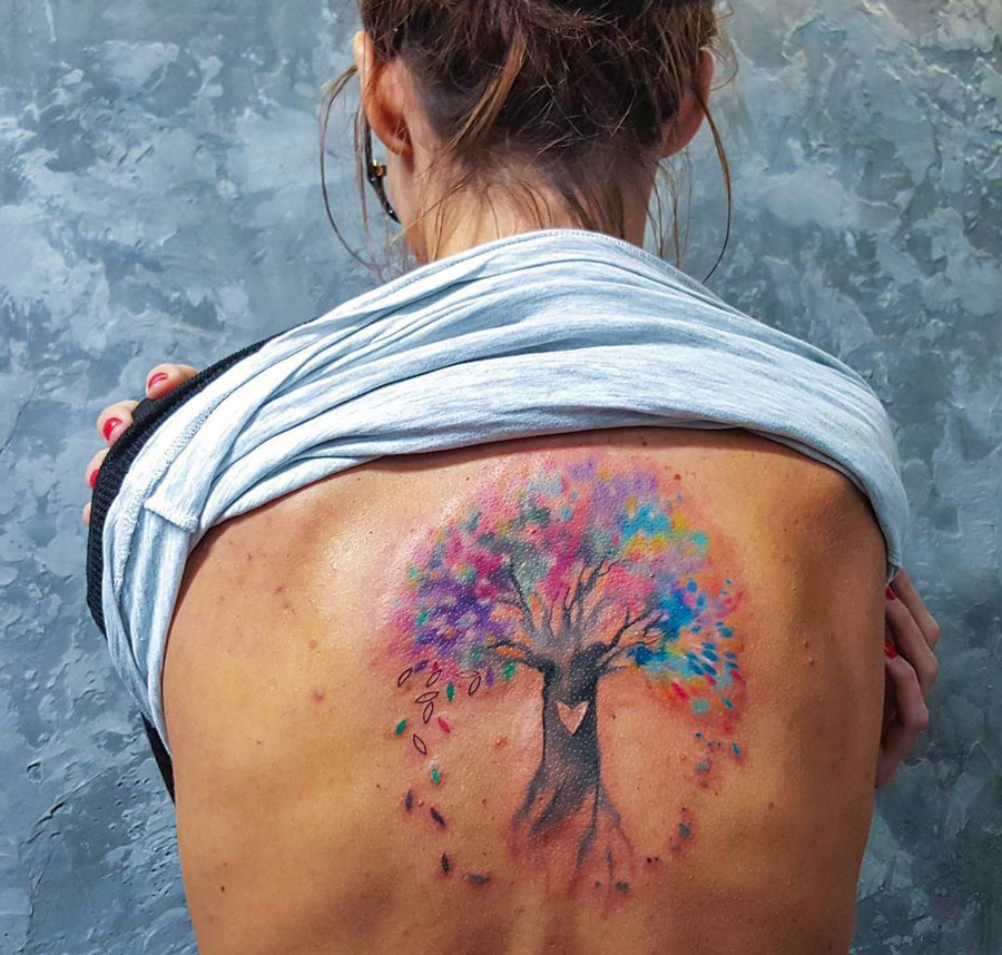 tree of life watercolor back piece best tattoo design ideas. Black Bedroom Furniture Sets. Home Design Ideas