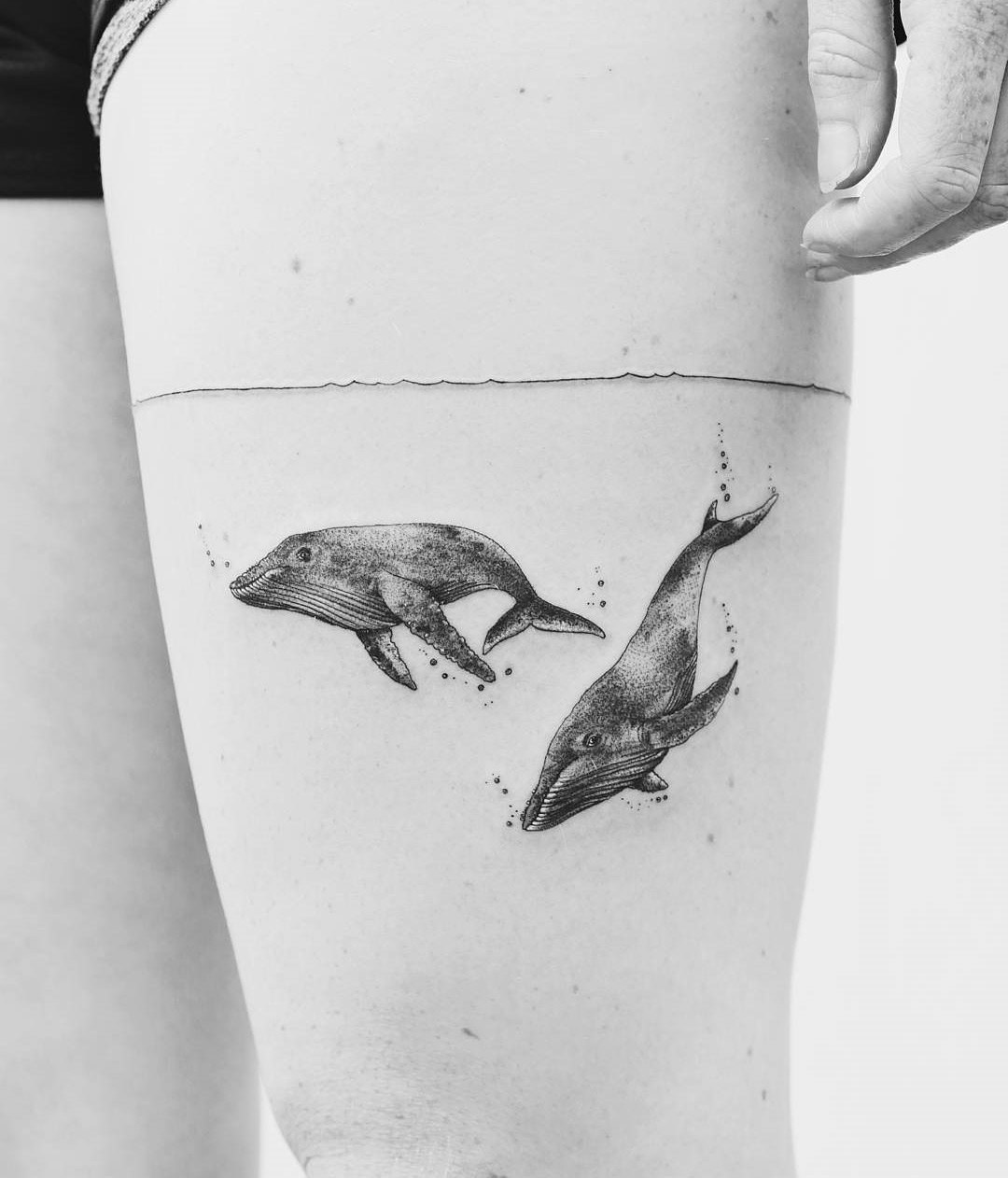 Whales Thigh Tattoo