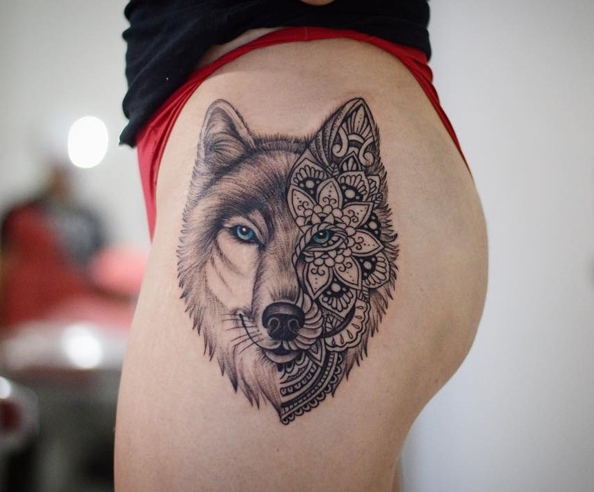 wolf portrait half mandala best tattoo design ideas. Black Bedroom Furniture Sets. Home Design Ideas