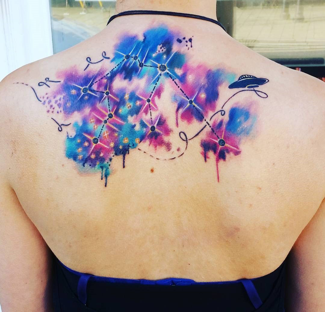 Aquarius Constellation Back Tattoo
