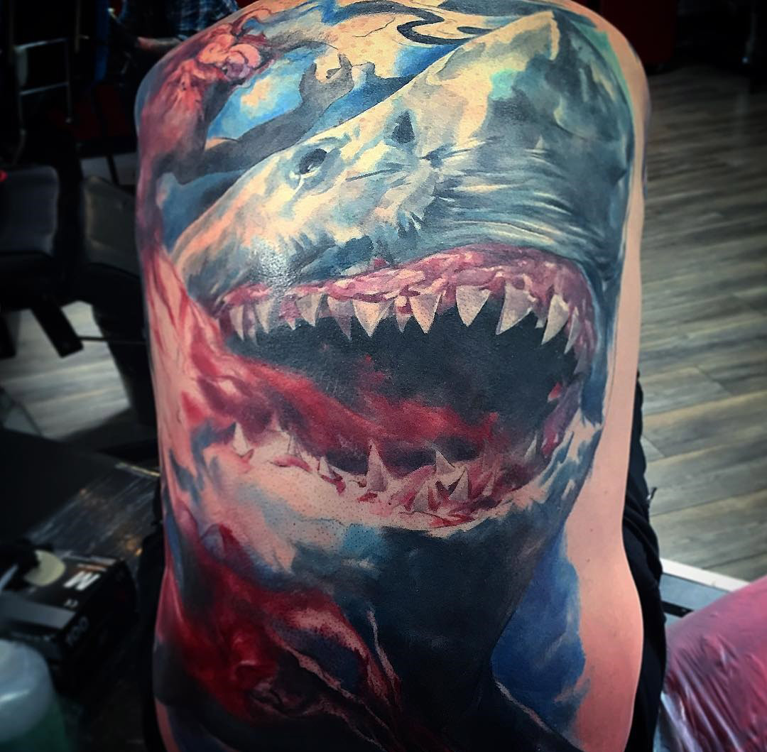 Great White Shark tattoo on guy's back