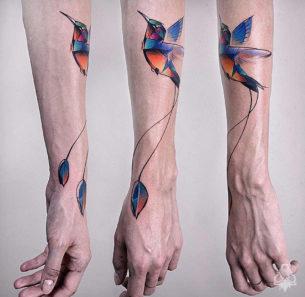 Hummingbird Geometric Forearm Piece