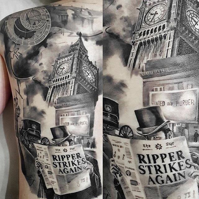 Jack the Ripper back tattoo