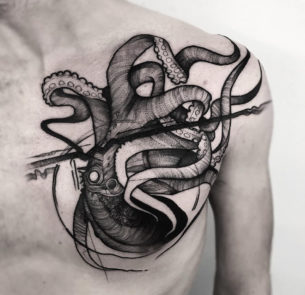 Octopus Chest Tattoo