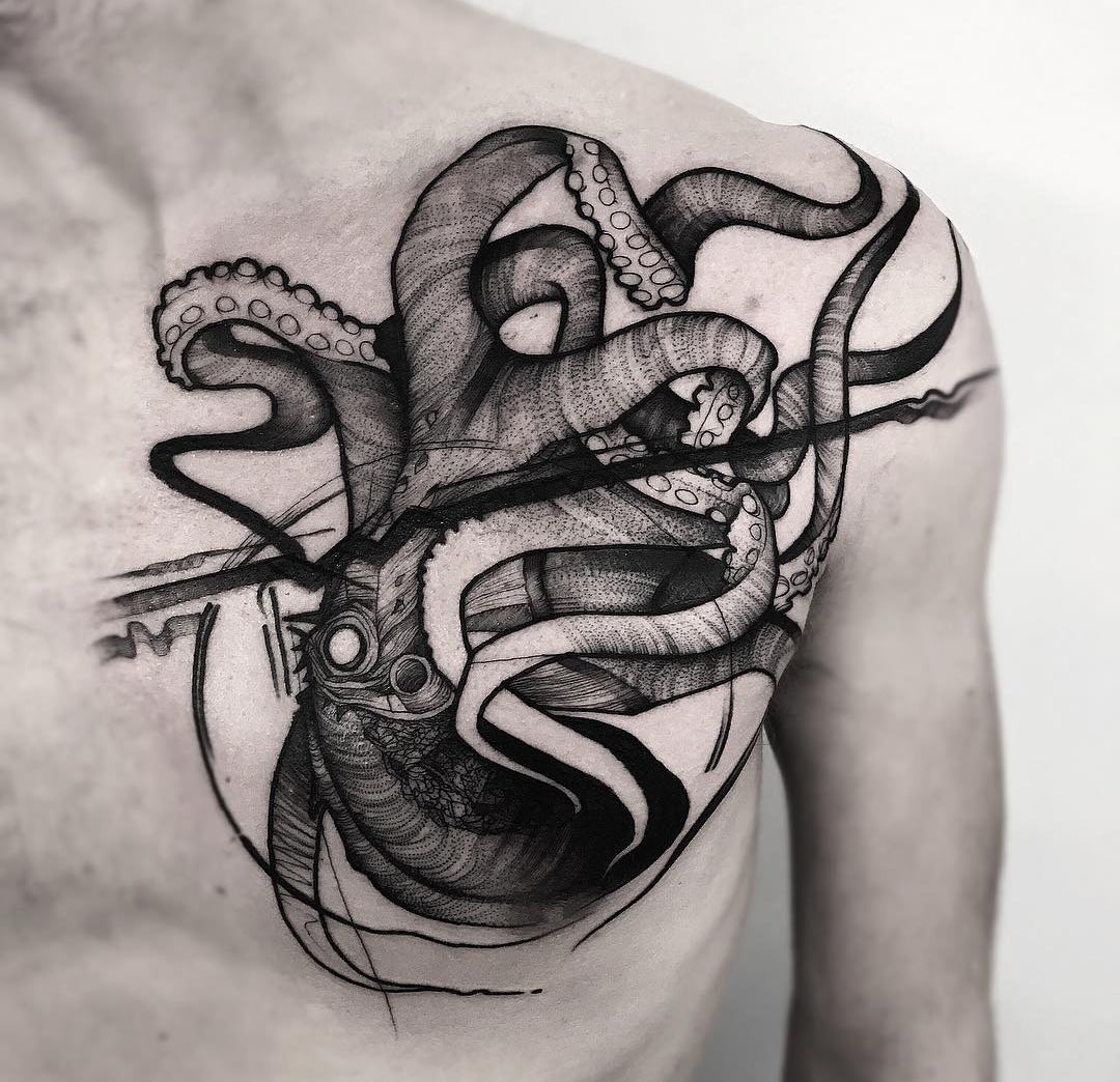 Octopus Chest Men S Black Ink Piece Best Tattoo Design
