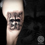 Raccoon Thigh Tattoo