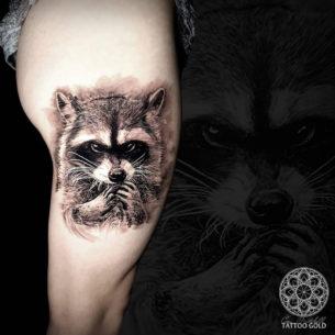 Raccoon Thigh Tattoo