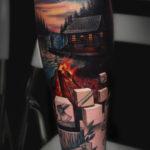 Cabin & 3D Cubes Tattoo