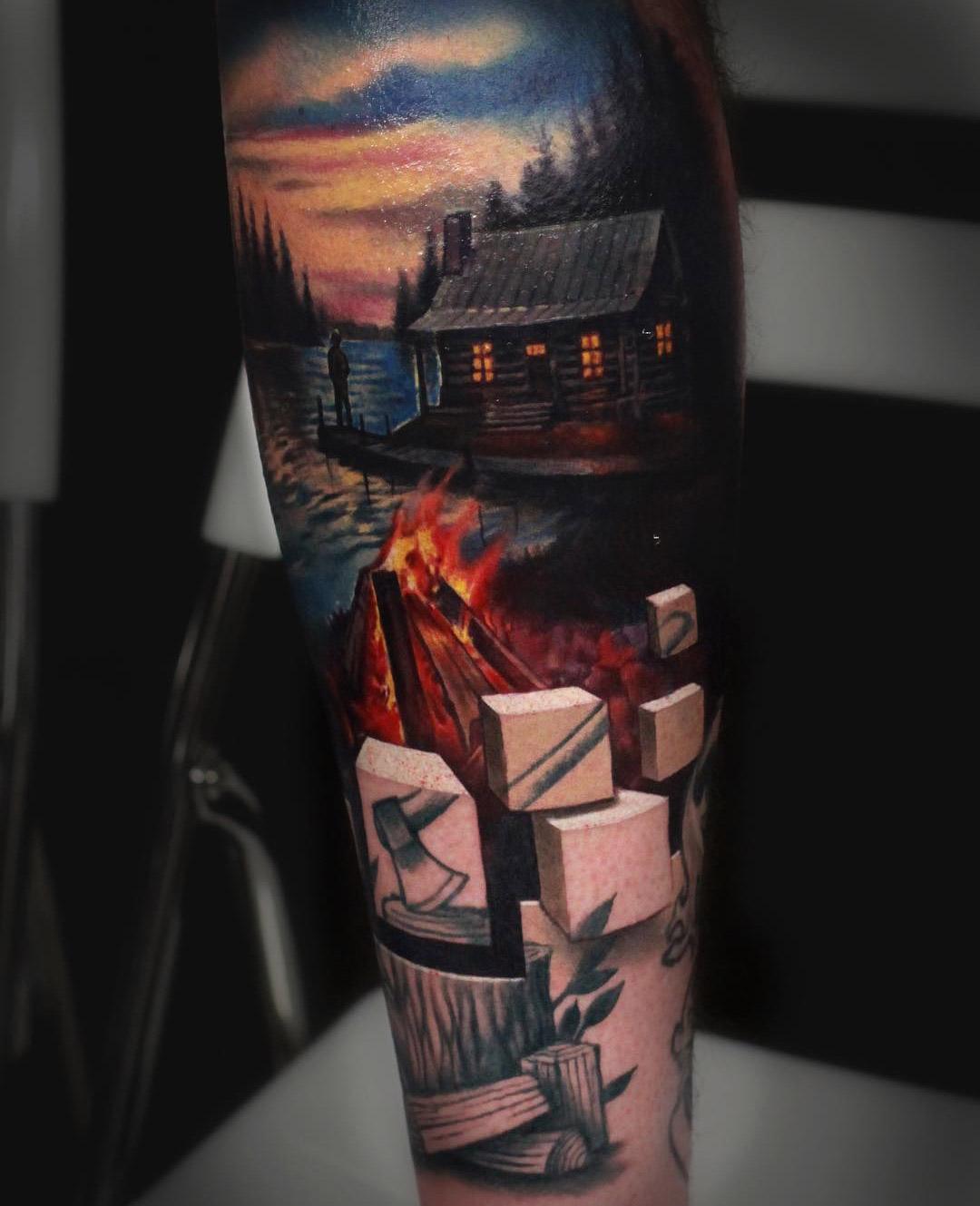 Cabin on a Lake & 3D Cubes | Best tattoo design ideas