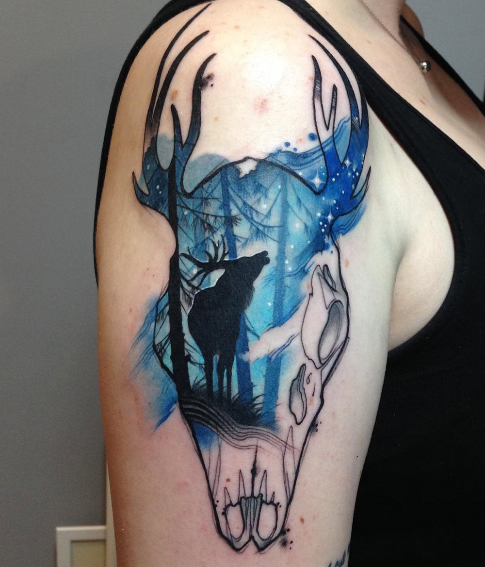 Deer & Skull Tattoo