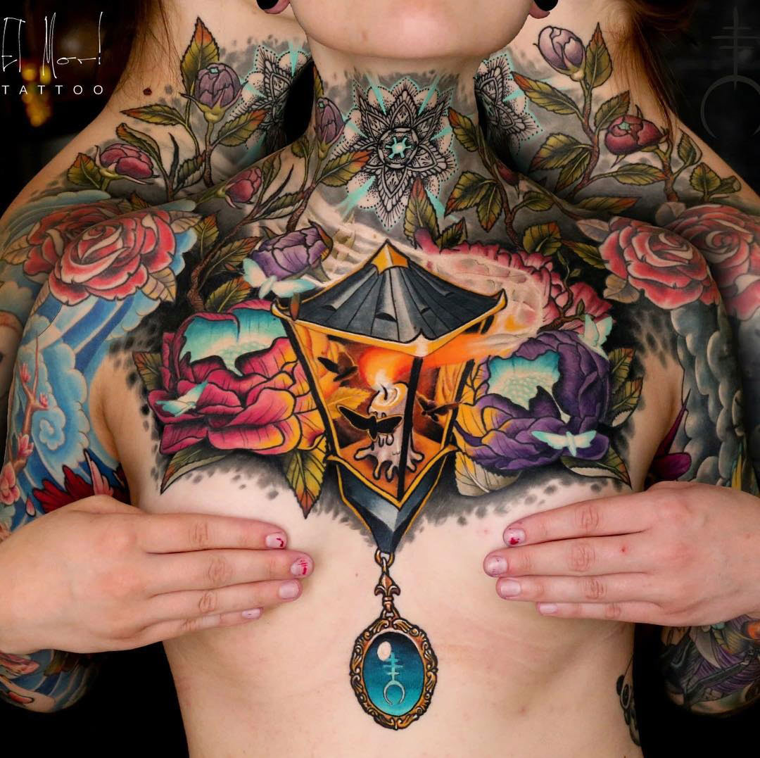 Lantern & Moths Chest Tattoo