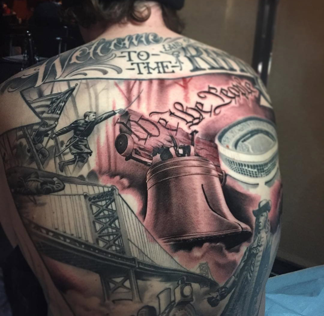 Liberty Bell, Pennsylvania back tattoo
