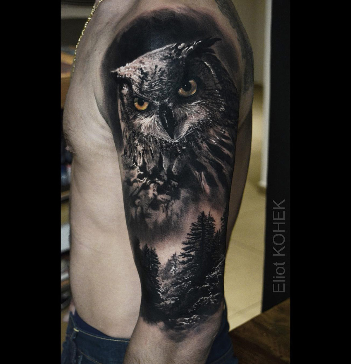 Owl & Forest Tattoo
