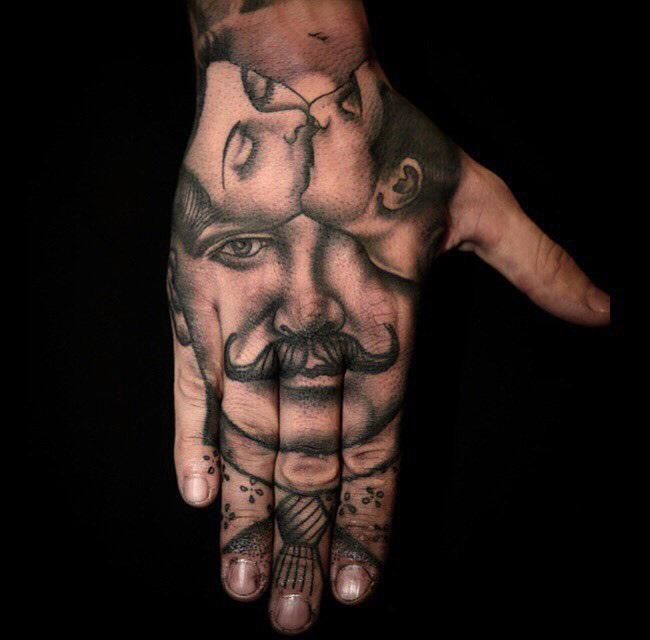 Retro Couple Hand Tattoo