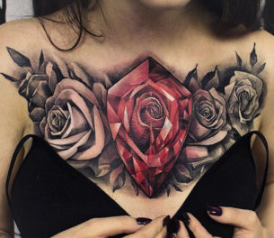 Rose Diamond Chest Tattoo