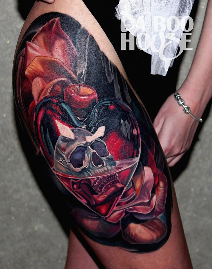 Skull in Heart Thigh Tattoo