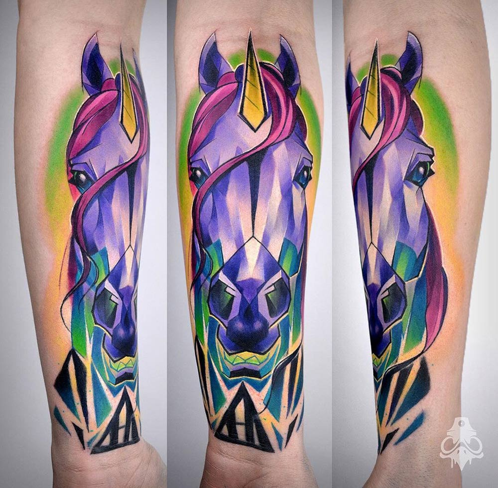 Unicorn Tattoo, Geometric, Pink & Purple