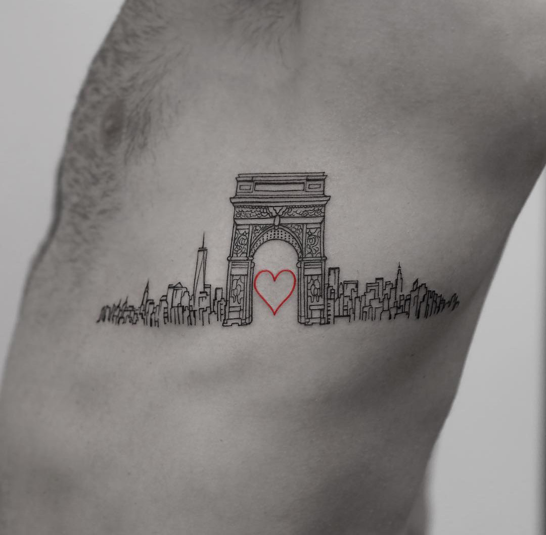 love nyc side piece with washington square arch best tattoo design ideas. Black Bedroom Furniture Sets. Home Design Ideas
