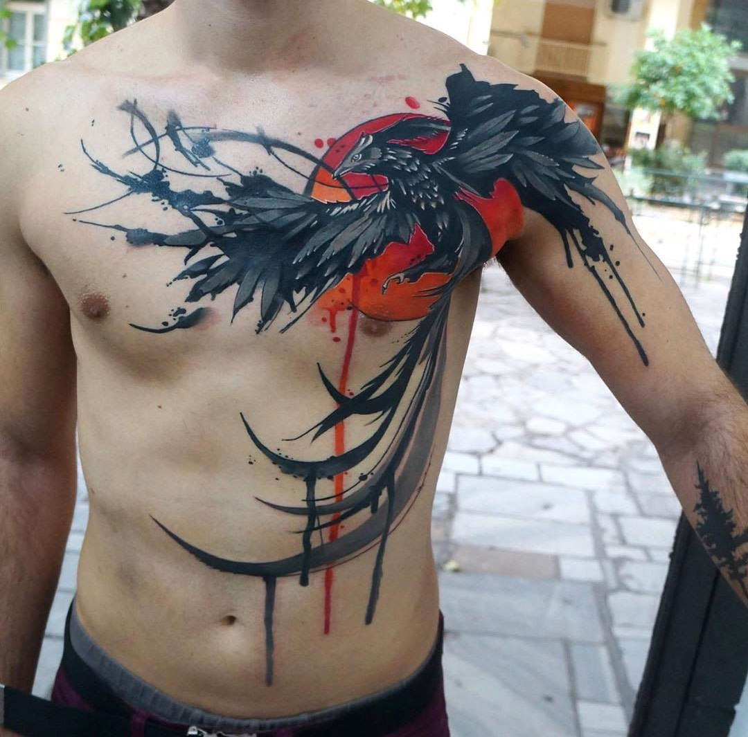 Phoenix reborn chest tattoo