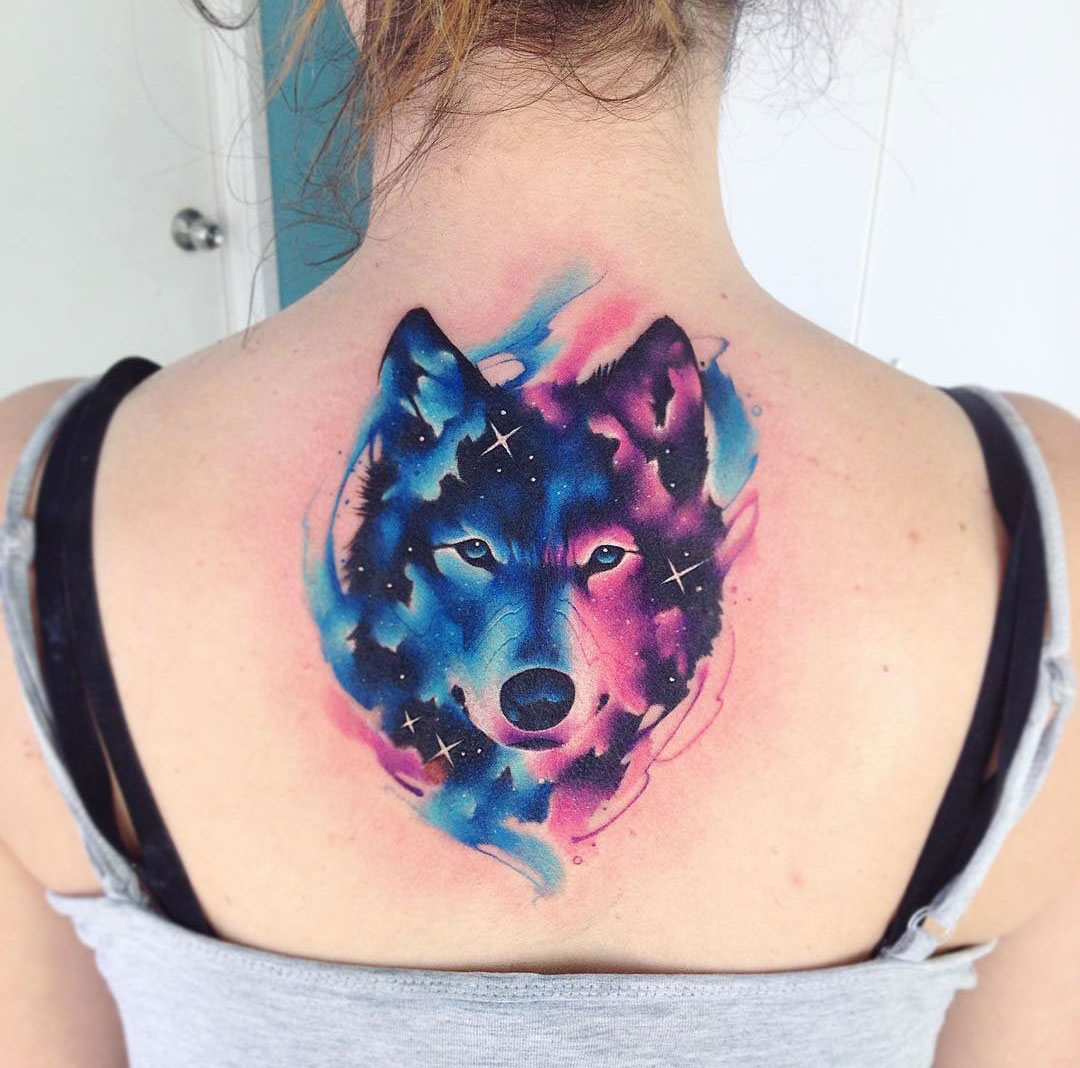 Galaxy Wolf Back Tattoo