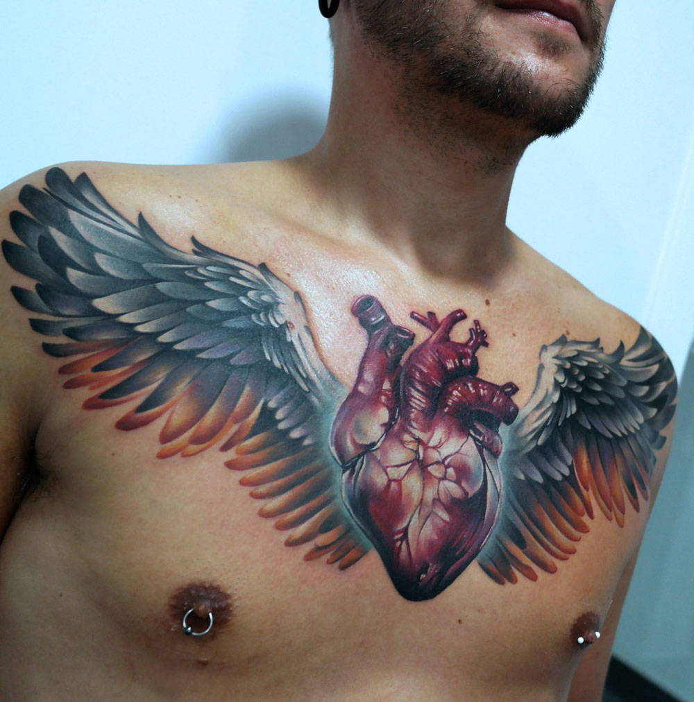 Heart & Wings Chest Tattoo