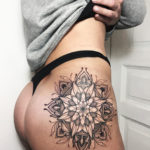 Hip Mandala, black ink tattoo